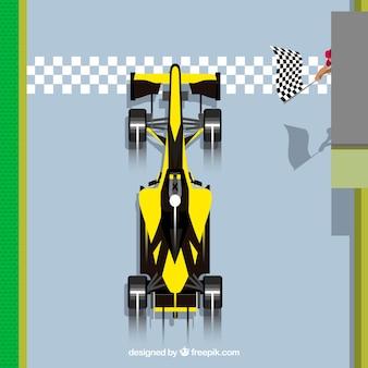 Formule 1 passant la ligne d'arrivée