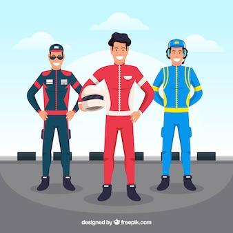 Formule 1 pilote collection de caractères avec un design plat
