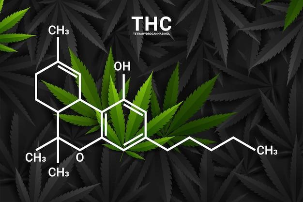 Formule chimique structurale moléculaire du thc ou du tétrahydrocannabinol
