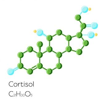 Formule chimique structurelle d'hormone cortisol