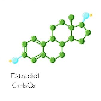 Formule chimique structurelle de l'hormone estradiol isolée
