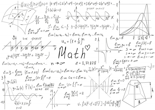 Formules mathématiques dessinées à la main sur un tableau blanc pour le fond.