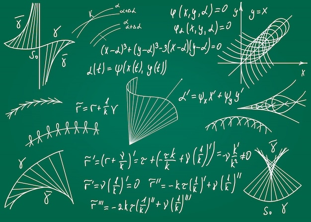 Formules mathématiques dessinées à la main sur un tableau vert pour le fond.