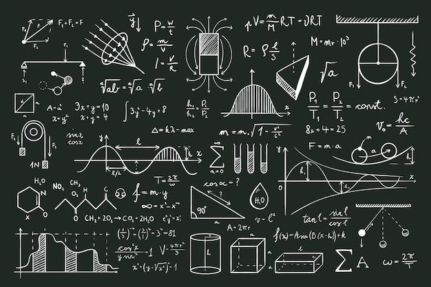 Formules mathématiques de style dessiné à la main