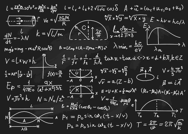 Formules de physique équations mathématiques calculs arithmétiques tableau noir avec des formules scientifiques
