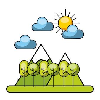 Forrest avec des nuages et l'image du soleil