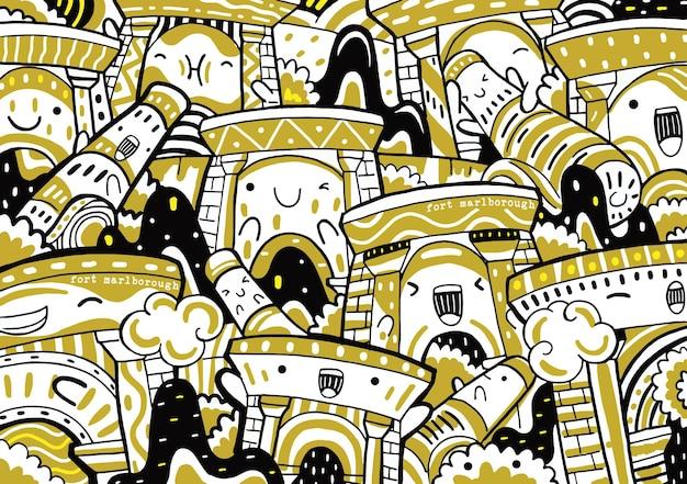 Fort marlborough doodle dans un style design plat