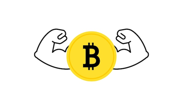 Forte crypto-monnaie bitcoin montrant de gros muscles. augmentation de la valeur de l'or numérique. vecteur sur fond blanc isolé. eps 10.
