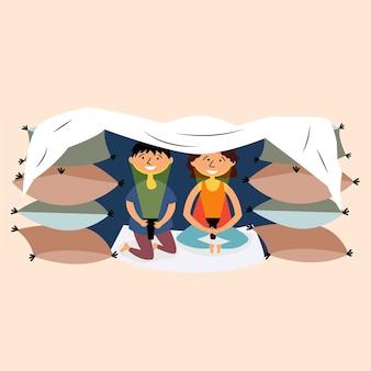 Forteresse de couverture d'oreiller faite par les enfants