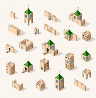 Forteresse médiévale. vue isométrique