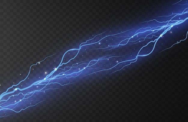 Foudre. décharge électrique et courant. effets d'éclairage magiques et lumineux. bleu clair.