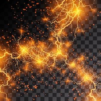 La foudre éclaire le tonnerre des étincelles sur un fond transparent.