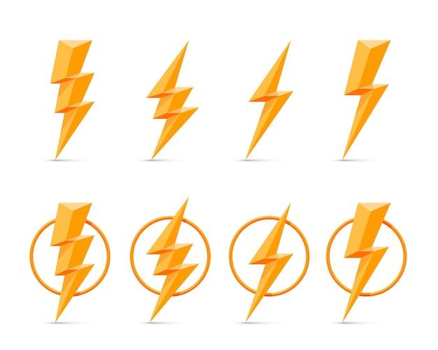 Foudre électrique, ensemble d'icônes sur un mur blanc.