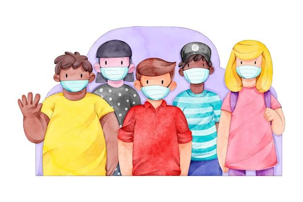 Foule dessinée de personnes portant des masques médicaux