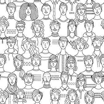 Une Foule De Divers Hommes Et Femmes Modèle Sans Couture Vecteur Premium