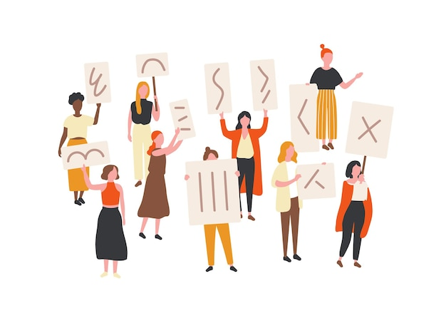 Foule de femmes qui protestaient tenant des banderoles et des pancartes. militantes du féminisme participant à une réunion de masse politique, à un défilé ou à un rassemblement. groupe de manifestantes féministes. illustration vectorielle de dessin animé plat.