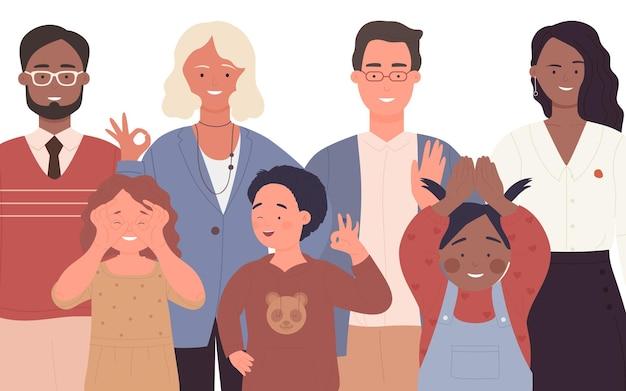 Foule de gens divers portraits de famille heureux groupe multiethnique d'adultes et d'enfants