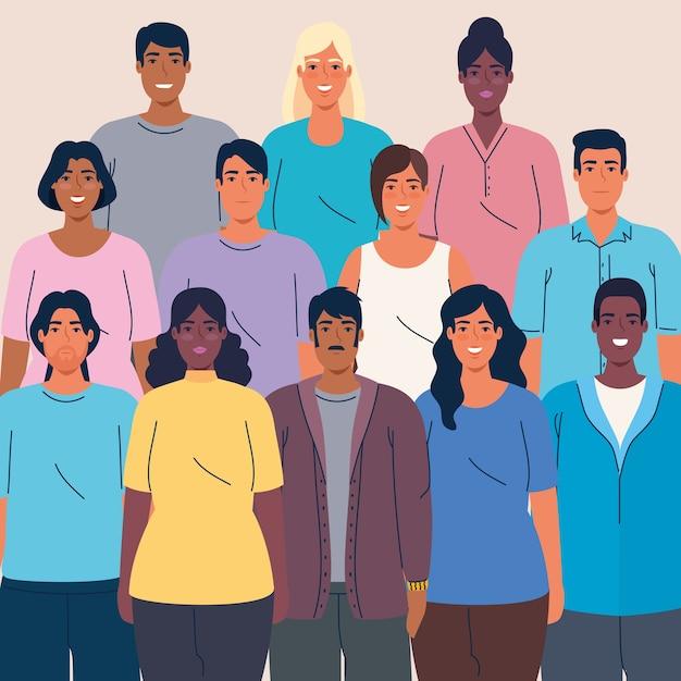 Foule de gens ensemble concept multi ethnique, diversité et multiculturalisme