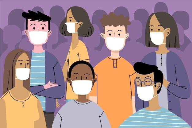 Foule de gens portant des masques faciaux