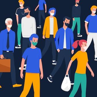 Foule de gens portant des masques médicaux