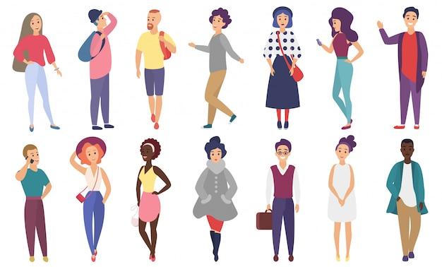 Foule de gens stylisés de vecteur effectuant des activités de plein air d'été. groupe de personnages de dessins animés plats mâles et femelles isolés.