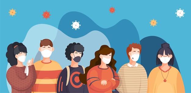 Foule de personnes dans un masque médical respiratoire