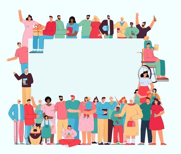 Foule de personnes différentes se tenant ensemble autour d'une bannière vierge