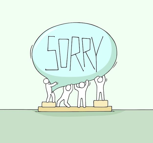 Foule de petites personnes travaillant avec bulle de dialogue. dessin animé dessiné à la main