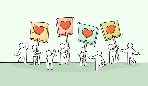 Foule de petits gens qui travaillent avec le cœur chante.