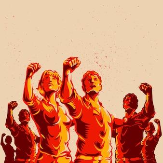 Foule protestation poing revolution affiche design