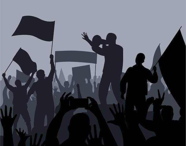 Foule silhouette plate de personnes avec des drapeaux dans une illustration de manifestation