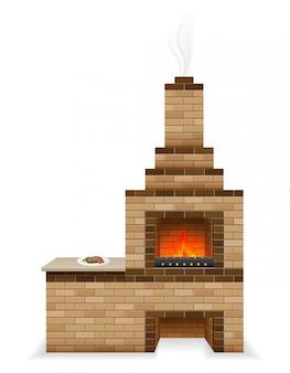 Four barbecue construit en briques