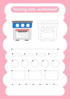Four - feuille de travail pour l'écriture et le dessin de lignes de trace pour les enfants