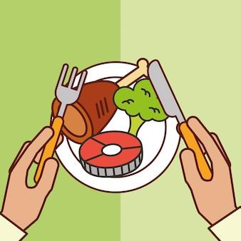 Fourchette couteau couteau poisson poulet brocoli dîner sur plat