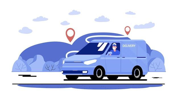 Fourgon cargo avec chauffeur dans un masque médical sur la route dans le contexte d'un paysage rural. illustration vectorielle.