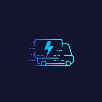 Fourgon électrique, icône de ligne de vecteur de camion de livraison
