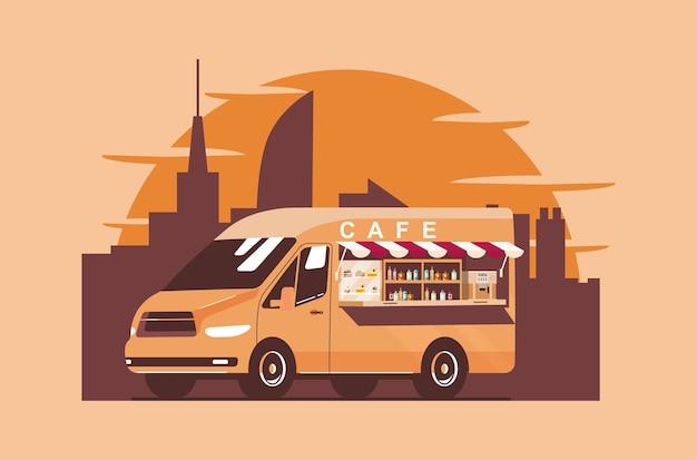 Fourgon foodtrack dans la ville. illustration vectorielle.