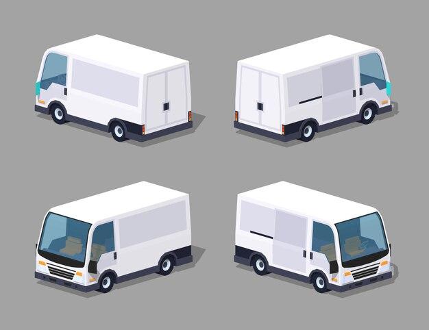 Fourgon isométrique 3d cargo blanc