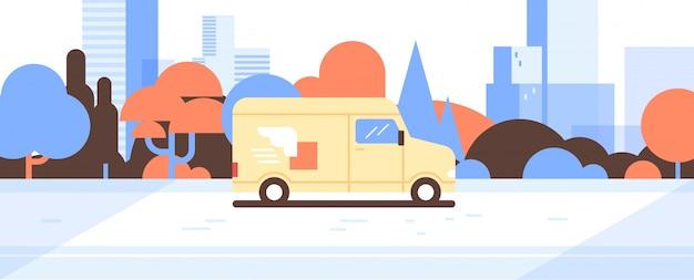 Fourgonnette ou camion conduite route colis express service de livraison concept paysage vector illustration