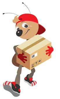 Fourmi courrier effectue la livraison de la boîte en carton