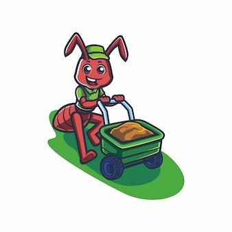 Fourmi mignonne avec dessin vectoriel de dessin animé de chariot