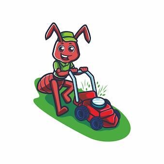Fourmi mignonne avec dessin vectoriel de dessin animé de tonte de pelouse