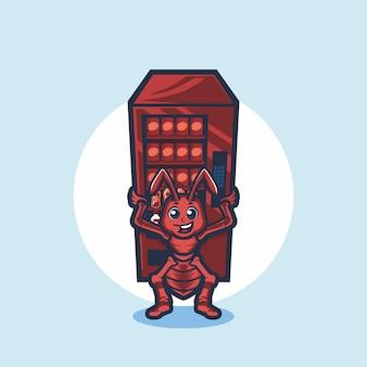 Fourmi mignonne tenant le dessin vectoriel de dessin animé de distributeur automatique
