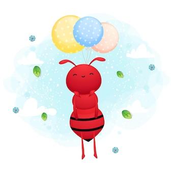 Fourmi mignonne volant avec le personnage de dessin animé de ballon