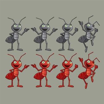 Fourmi rouge et noire différents personnages