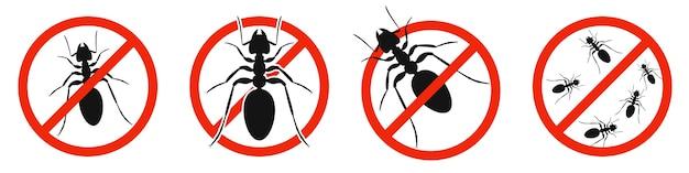 Les fourmis avec panneau d'interdiction rouge isolé sur blanc