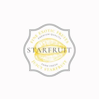 Les fournisseurs de carambole encadrent un insigne ou un modèle de logo croquis de fruits dessinés à la main avec typographie rétro et b ...