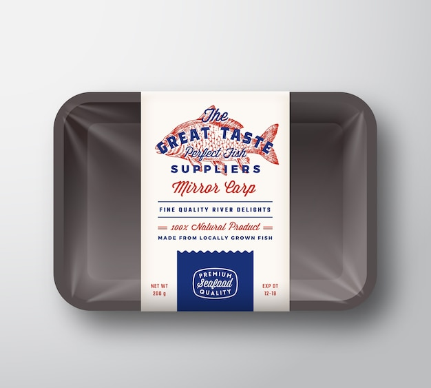 Fournisseurs de poisson de grand goût abstract vector étiquette de conception d'emballage rustique sur plateau en plastique avec couvercle en cellophane