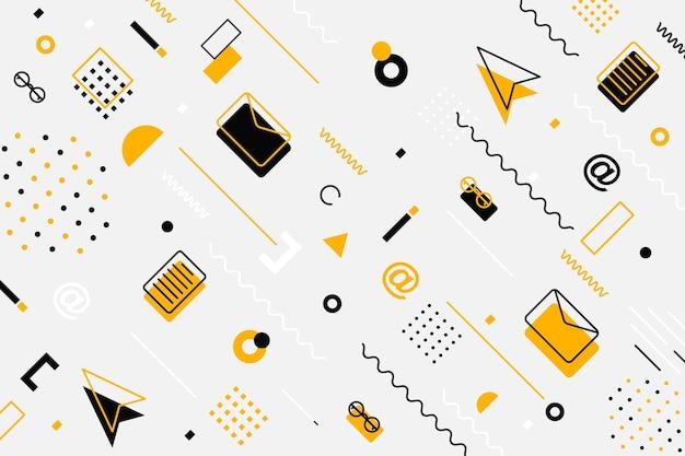 Fournitures de bureau motif harmonieux de textures de carrelage avec un jeu d'icônes en noir et blanc de fine ligne