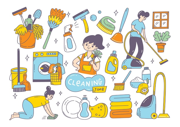 Fournitures de nettoyage doodle isolé